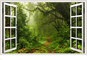 Forest Trees Window Wall Sticker Virgin Jungle Fake Window Wall Decals Green Nature Landscape Sticker Removable Faux Window View Wall Decor for Living Room