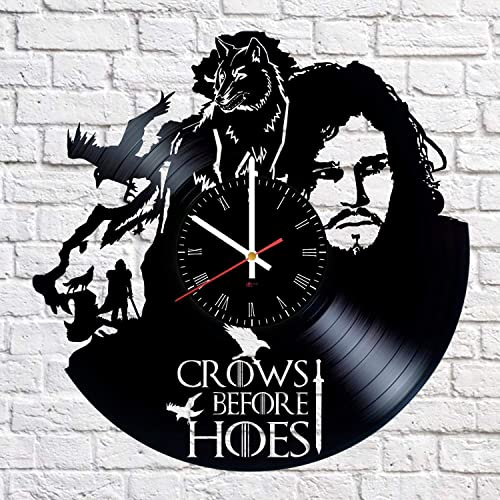 Jon Snow Hero Handmade Vinyl Record Wall Clock – Get unique living room wall decor – Gift ideas for friends, boys, girls Epic Drama Unique Modern Art