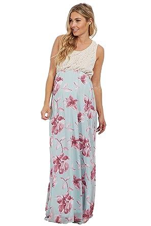 fb12787811dec PinkBlush Maternity Light Blue Crochet Floral Bottom Maternity Maxi Dress,  Larg