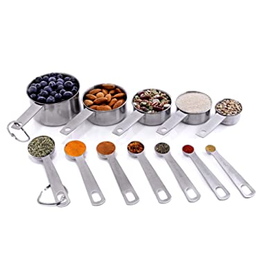 New Set of 12 Measuring Cups and Measuring Spoons in 18/8 Stainless Steel in American & Metric Measurements from Maison Maison. For Cooking, Baking, Liquid and Dry Ingredients!