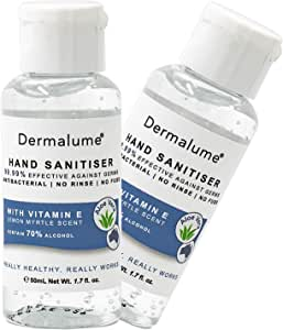 2X 50ml Dermalume Hand Sanitiser Quick Drying effective against germs or viruses made in AU