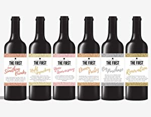 6 Housewarming Gifts for New Home, New Homeowner Stickers or Wine Label Gift Set Ideas for Presents, Congrats Home Sweet Home Party, Unique Real Estate Gifts From Agent For Client Congratulations