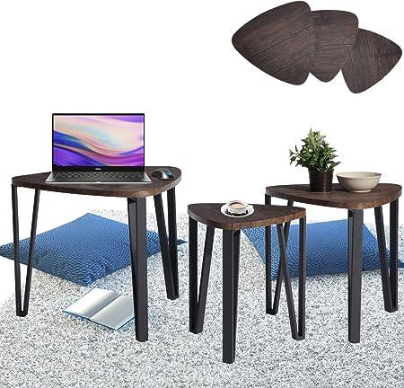 Aingoo Tavolini Sovrapponibili Set di 3, tavolini da caffè, tavoli da Soggiorno con Gambe in Ferro con Design Elegante Comodino