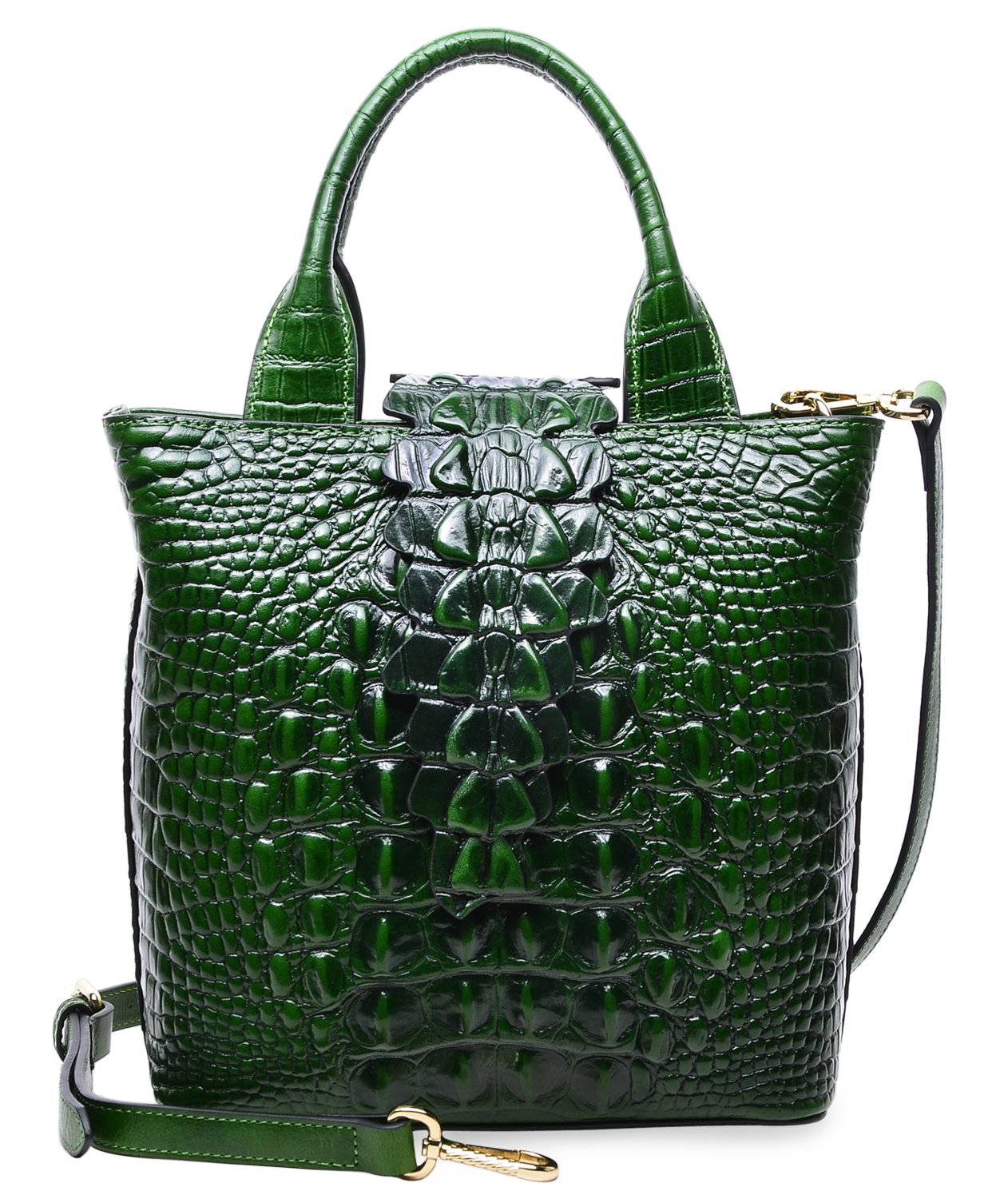 PIFUREN Designer Crocodile Embossed Leather Top Handle Satchel Handbags  Office E76061S(Small Size 493d0b51f94dc