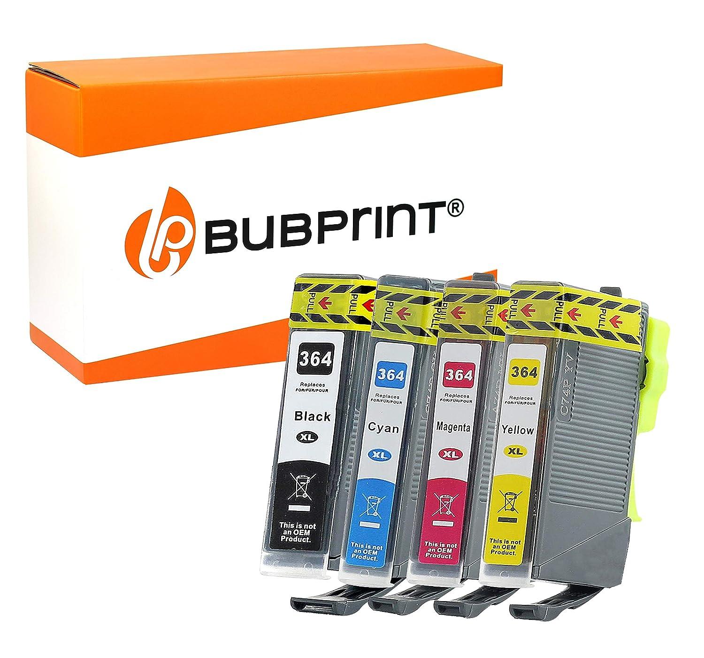 Bubprint 4 Cartuchos de Tinta Compatible con HP 364 XL para Impresora PhotoSmart 5520 Deskjet 3070 OfficeJet 4610 Set Cian Magenta Amarillo y Negro