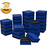 TecUnite 30 Pack Magnetic Whiteboard Dry Eraser Chalkboard Cleansers Wiper for Classroom Office (Blue, 1.97 x 1.97 Inch)