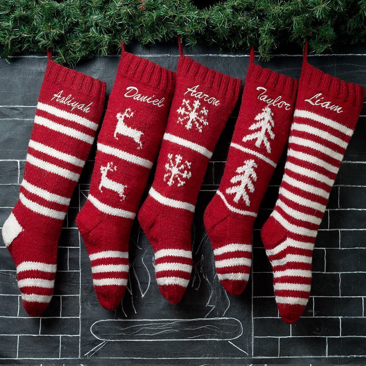 Amazon Com 5 Christmas Stockings Hand Knit Red Wool Personalized