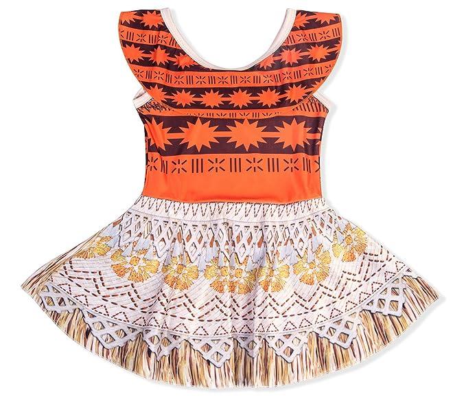 920fe3e91c05e KABETY Baby Girls Princess Moana Swimsuit Two Piece Off Shoulder Bikini Set  (Orange