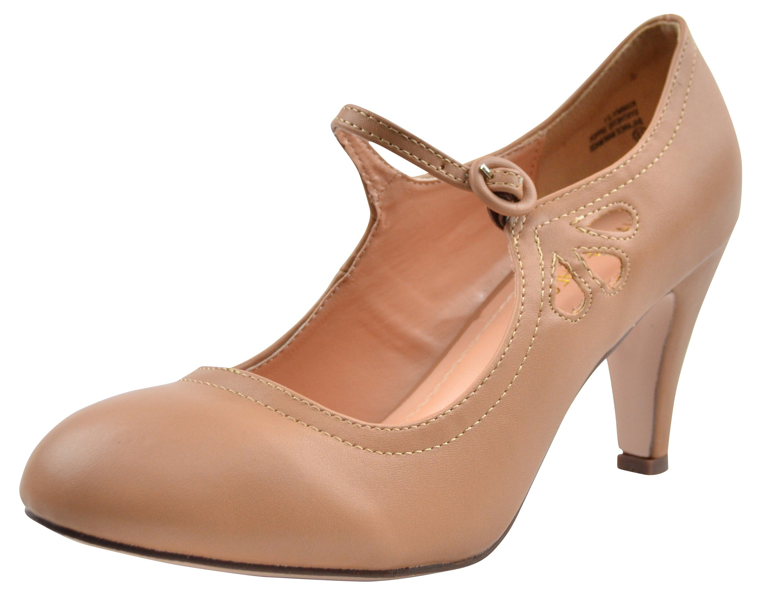 Chase and Chloe Kimmy-21 Mary Jane Teardrop Cutout T-Strap Pump Heel (5.5 B(M) US, Taupe PU) by Chase & Chloe