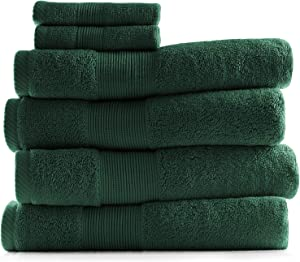 Hearth & Harbor 700 GSM Hand & Bath Towel Collection – 100% Cotton Luxury Set of 4 Bath Towels & 2 Wash Cloths – Ultra Soft & Highly Absorbent Beach, Spa & Bathroom Body Shower Towels - Hunter Green