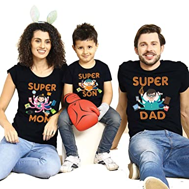 c8e629c841 Bon Organik Super Dad/Mom/Son Pack of 3 Family Matching Cotton Combo Family  t Shirts/Combo tees Family/Family Matching t-Shirts/Family Tshirts/Tshirts  for ...
