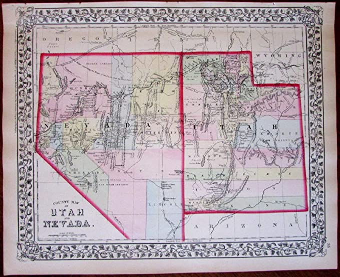Amazon.com: Utah Nevada Western United States 1874 S.A. ...