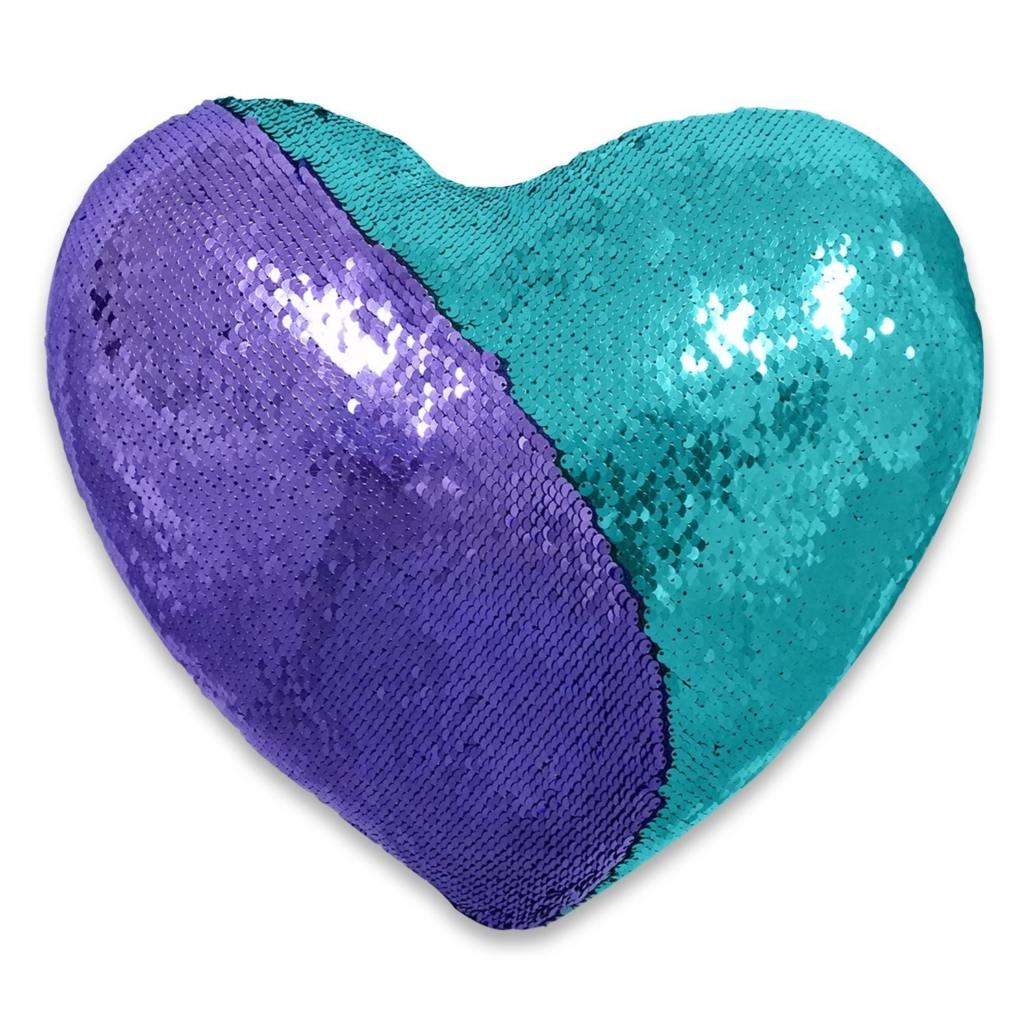 QQB Mermaid pillow, Reversible Sequin color Heart shaped decorative throw pillow with pillow insert, 13''×15''(sky blue and purple)