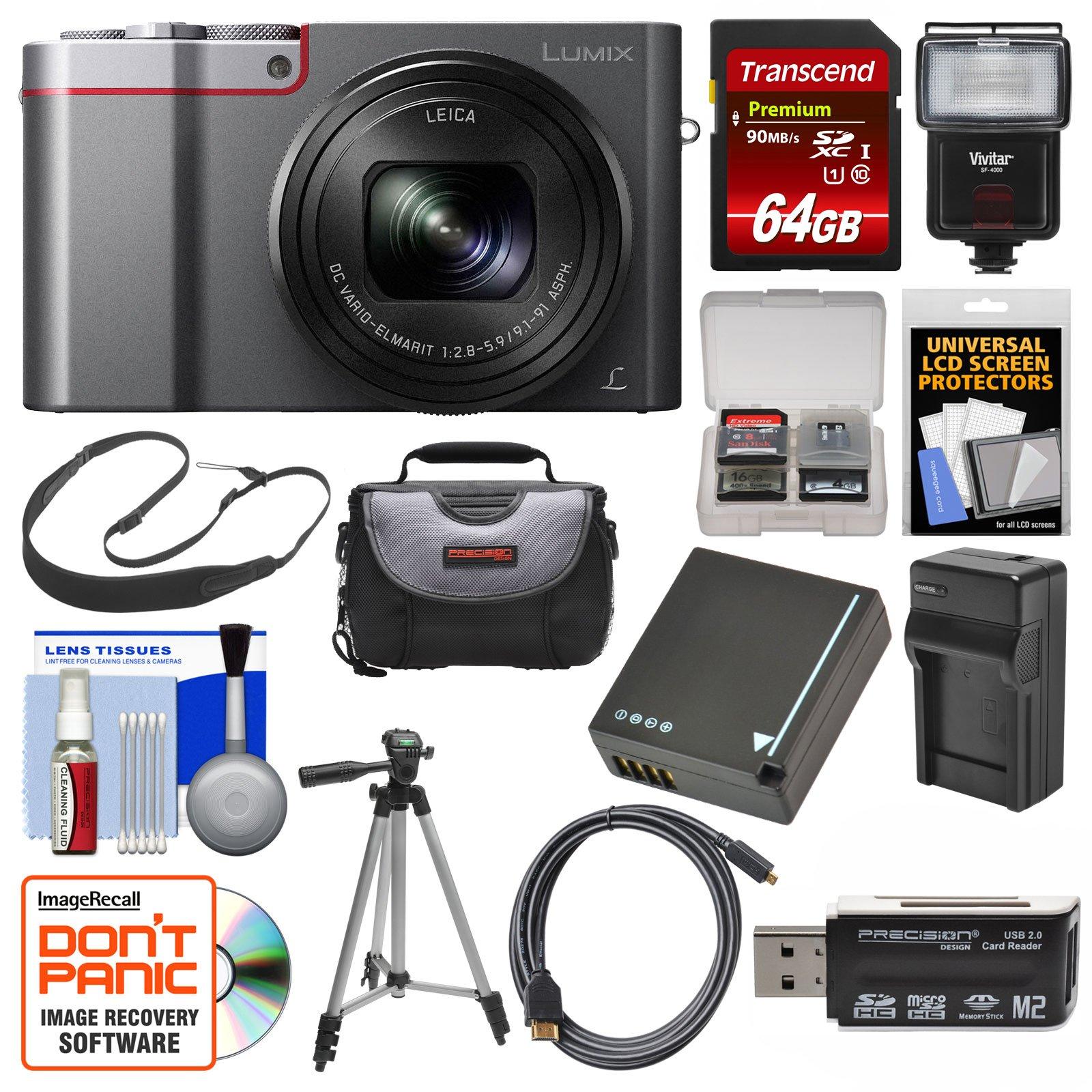 Panasonic Lumix DMC-ZS100 4K Wi-Fi Digital Camera (Silver) with 64GB Card + Case + Flash + Battery & Charger + Tripod + Strap + Kit