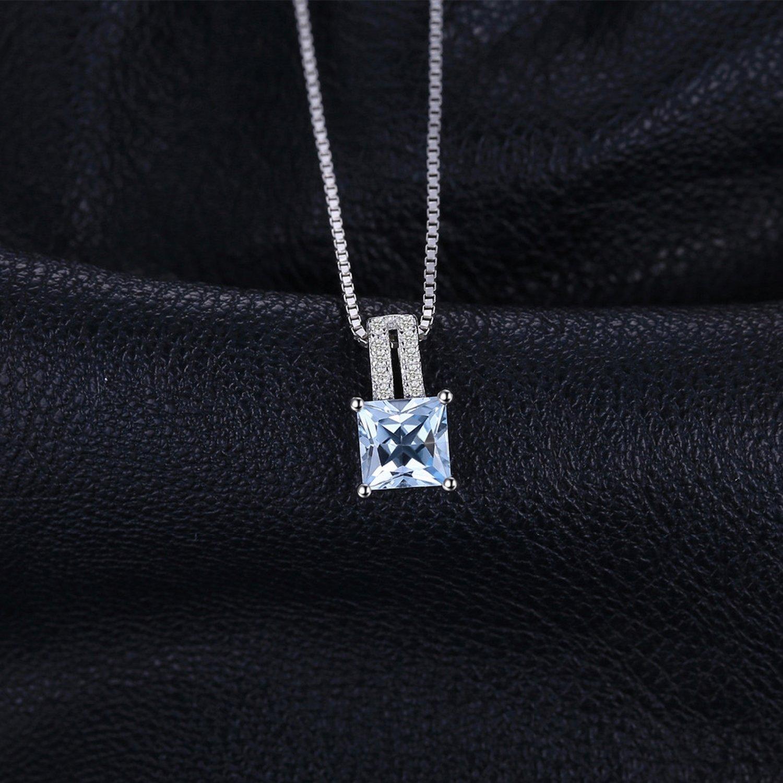 CS-DB Pendants 1.3ct Princess-Cut Wedding Silver Necklaces