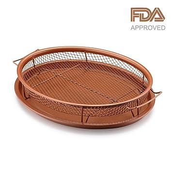 gelinzon antiadherente bandeja de cobre cajón, cajón y cesta y bandeja para horno, hornillo,, parrilla, funciona como aire freidora y parrilla, ...