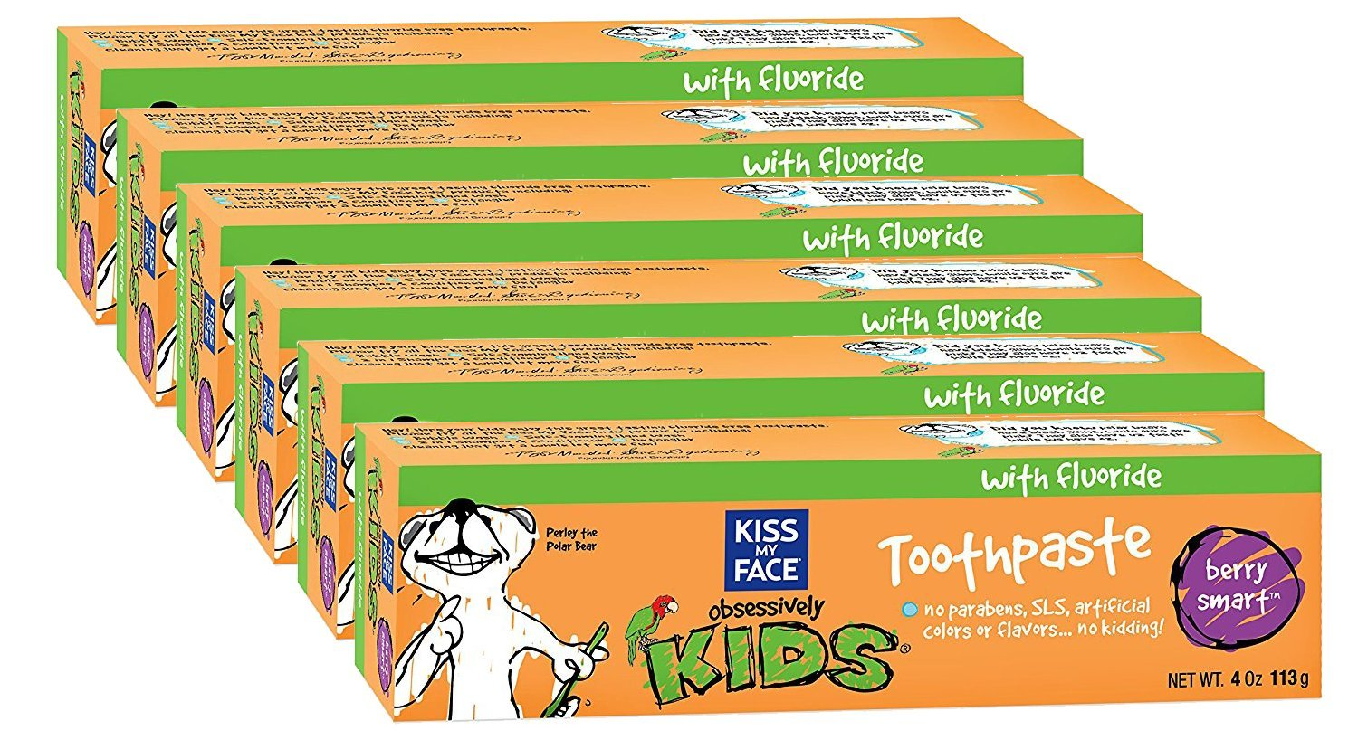 Kiss My Face Kids Fluoride Toothpaste, Berry Smart, 4 Ounce Tubes (pack of 6)