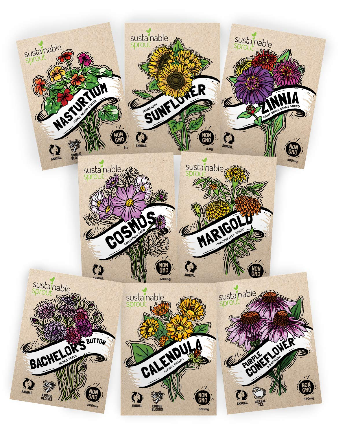 Flower Seeds Variety Pack - 100% Non GMO - Zinnia, Cosmos, Sunflower, Bachelor Button, Calendula, Nasturtium, Marigold, Coneflower for Planting in Your Garden by Sustainable Sprout