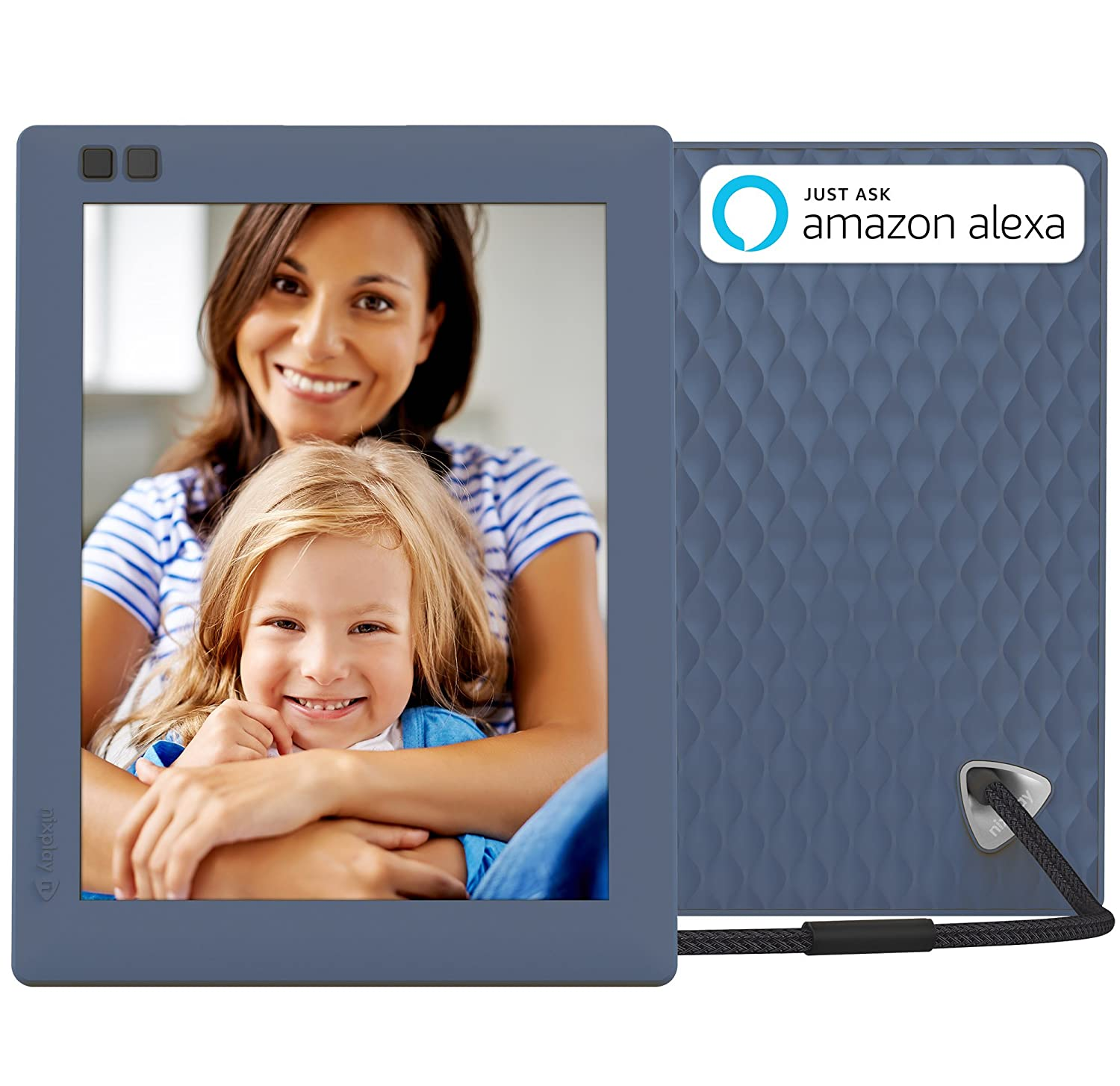 Nixplay Seed 8 Inch WiFi Digital Photo Frame with Mobile App, 10GB Online Storage, Alexa Integration and Motion Sensor – Blue (W08D)