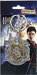 HARRY POTTER Hufflepuff School Crest Pewter Keychain