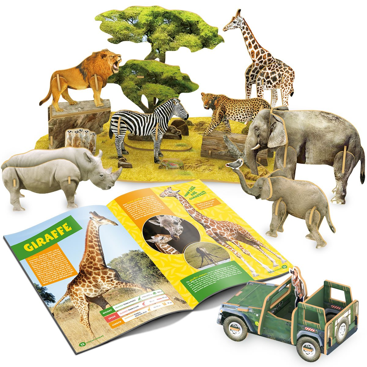 Cubicfun-National Geographic Animal Puzzles for Kids Educational Toys with Booklet,African Wildlife