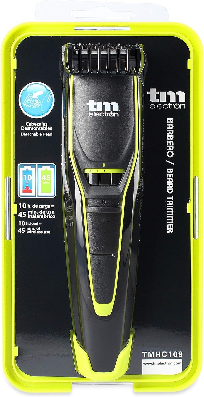 TM Electron TMHC109G - Barbero con Batería recargable de 600 Mah, 20 longitudes de Corte y cabezal Desmontable, acabado en verde: Amazon.es: Salud y cuidado personal