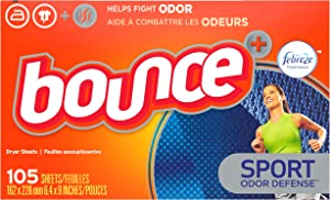 Bounce Fabric Softener Dryer Sheets, Pure Sport, 105 Count