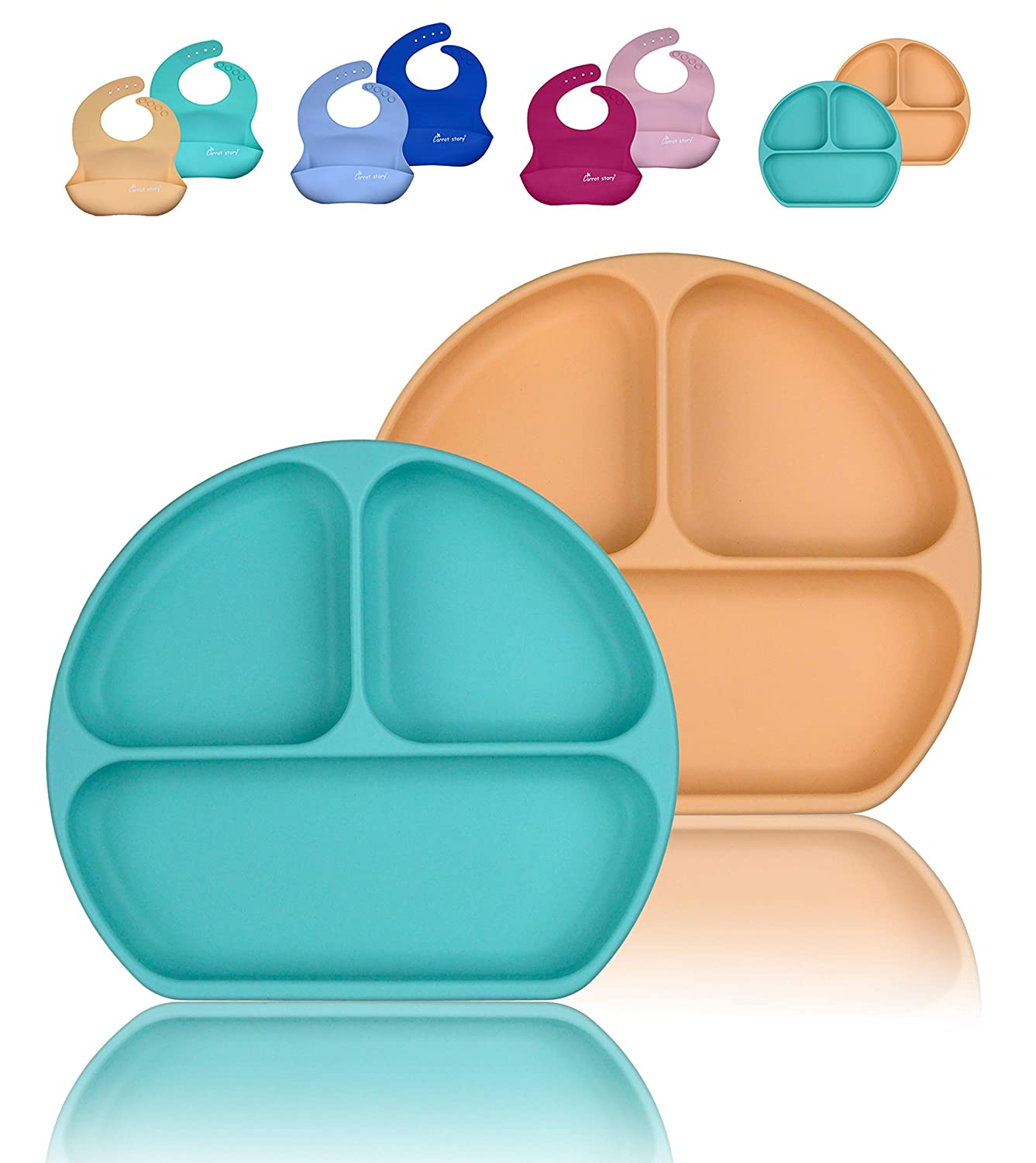 CARROT STORY 100% Silicone Suction Baby Toddler Plate, 2-Pack, Waterproof Washable Plate, BPA Free, Microwave/Dishwasher Safe (Macaron Set, Peach/Baby Blue)