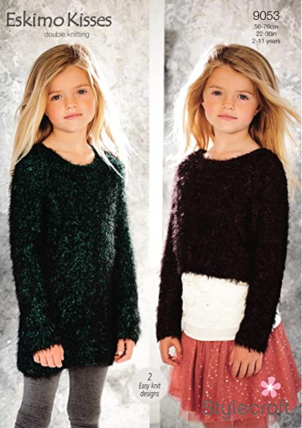 b0c06b826 Stylecraft 9053 Knitting Pattern Girls Cropped Sweater and Dress in Eskimo  Kisses DK  Amazon.co.uk  Kitchen   Home