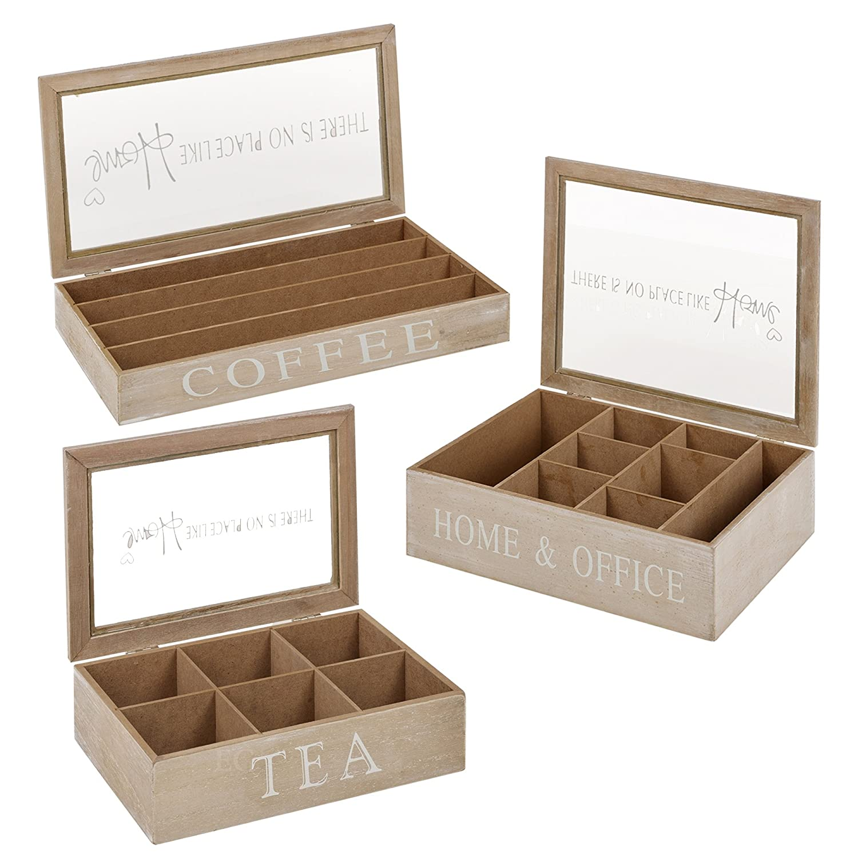 8 Section Storage Box Cajas de madera para almacenamiento de t/é o c/ápsulas de caf/é con tapa de cristal