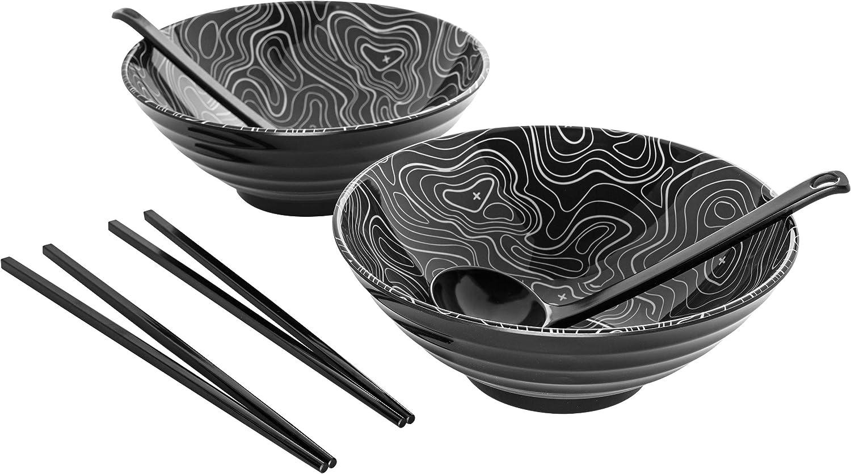 Denali Ramen Noodle Bowl Set   Dishes For Eating Authentic Asian Food   Includes 2 Large Noodle Bowls, 2 Soup Spoons & Chopsticks   Japanese Style Bowls For Pho, Ramen, Udon & Rice   2 Sets (6 Pieces)