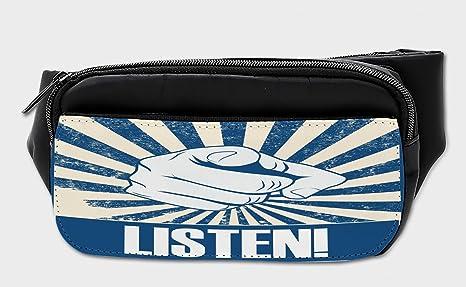 20a63e499717 Amazon.com: Lunarable Retro Bumbag, Listen Quote with Human Hand ...