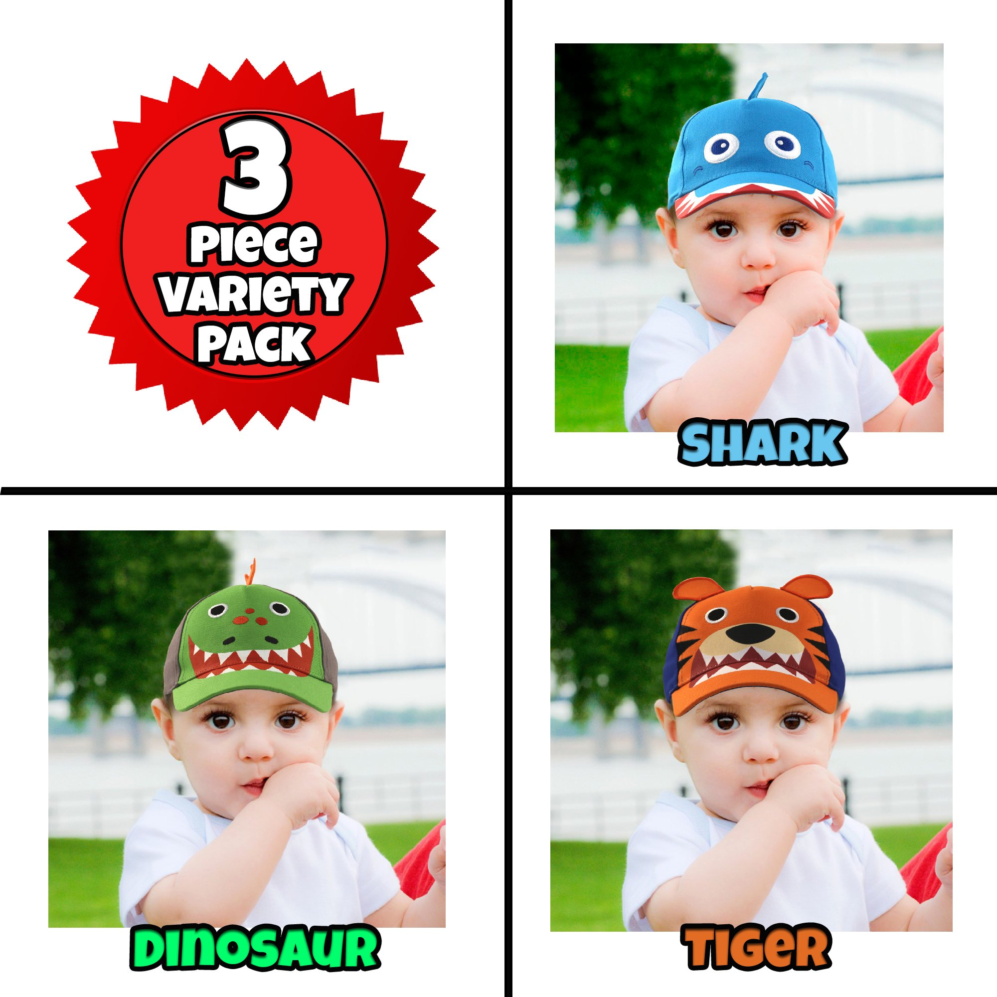 ABG Accessories Toddler Boys Cotton Baseball Cap with Assorted Animal Critter Designs, Age 2-4 (3 Piece Variety Design Pack) by ABG Accessories (Image #4)