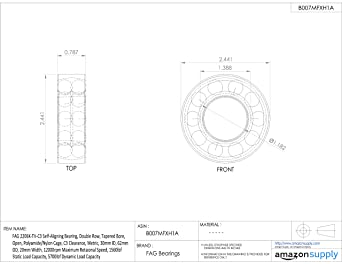 Schaeffler 62 mm OD C3 25 mm ID 17 mm Width Self-Aligning Ball Bearing Open FAG 1305-TVH-C3 Straight Bore