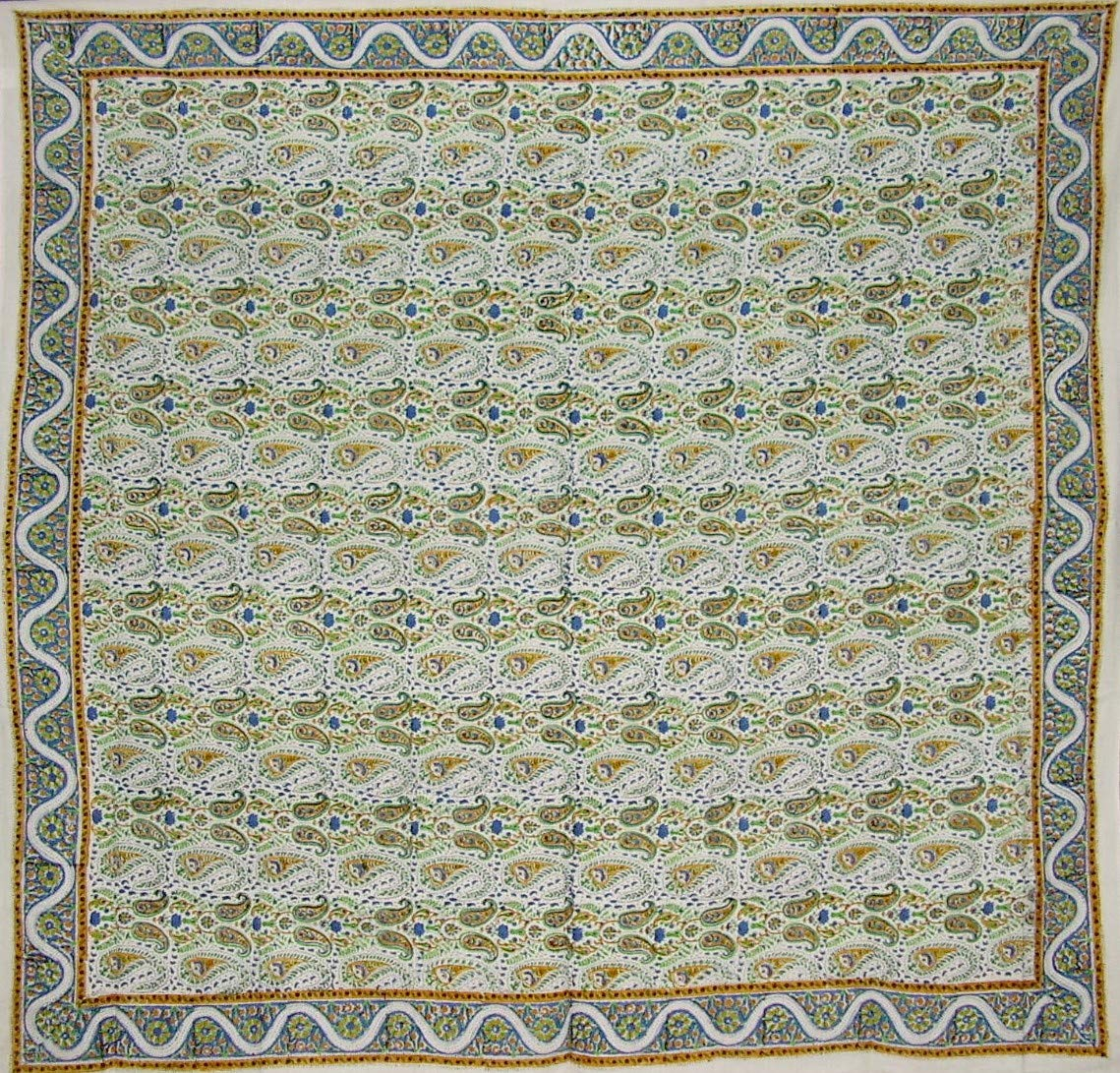 "India Arts Hand Block Printed Floral Square Cotton Tablecloth 72"" x 72"""