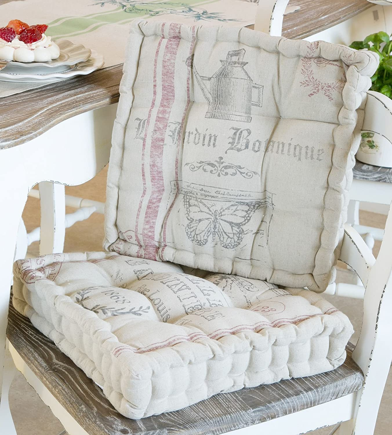 Set of 4 Seat Pads Cushions French Linen Kitchen Dining Chairs Cream ...