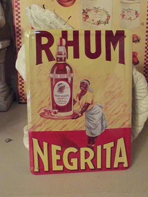 Francia Vintage Placa Metal 20x15cm Publicidad Ron Negrita Jamaica