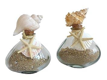 Amazon De 2er Set Glasflasche Mit Muscheln Sand Maritim Glas