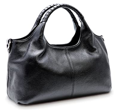 3987d5588ce3 Iswee Leather Tote Bag Small Genuine Leather Purse Handbag Shoulder Bag For  Women (Black)