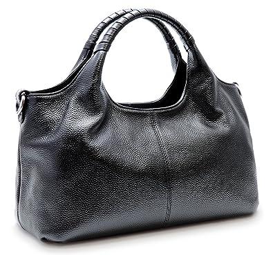 f338ad652a5 Iswee Womens Genuine Leather Handbags Tote Bag Shoulder Bag Top Handle  Satchel Designer Ladies Purse Hobo Crossbody Bags