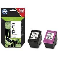 HP 62 Multipack Original Drucker patronen (1xSchwarz und 1xSchwarz/Cyan/Magenta/Gelb) HP ENVY HP Officejet