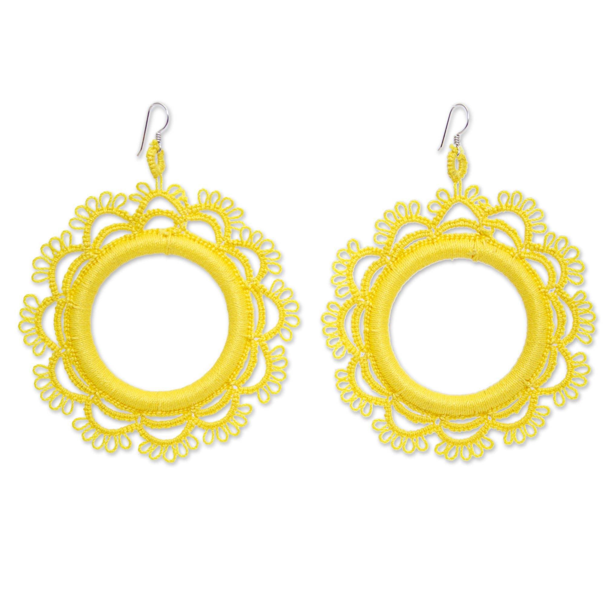 NOVICA Crochet Cotton Dangle Earrings with .925 Sterling Silver Hooks 'Yellow Sun'