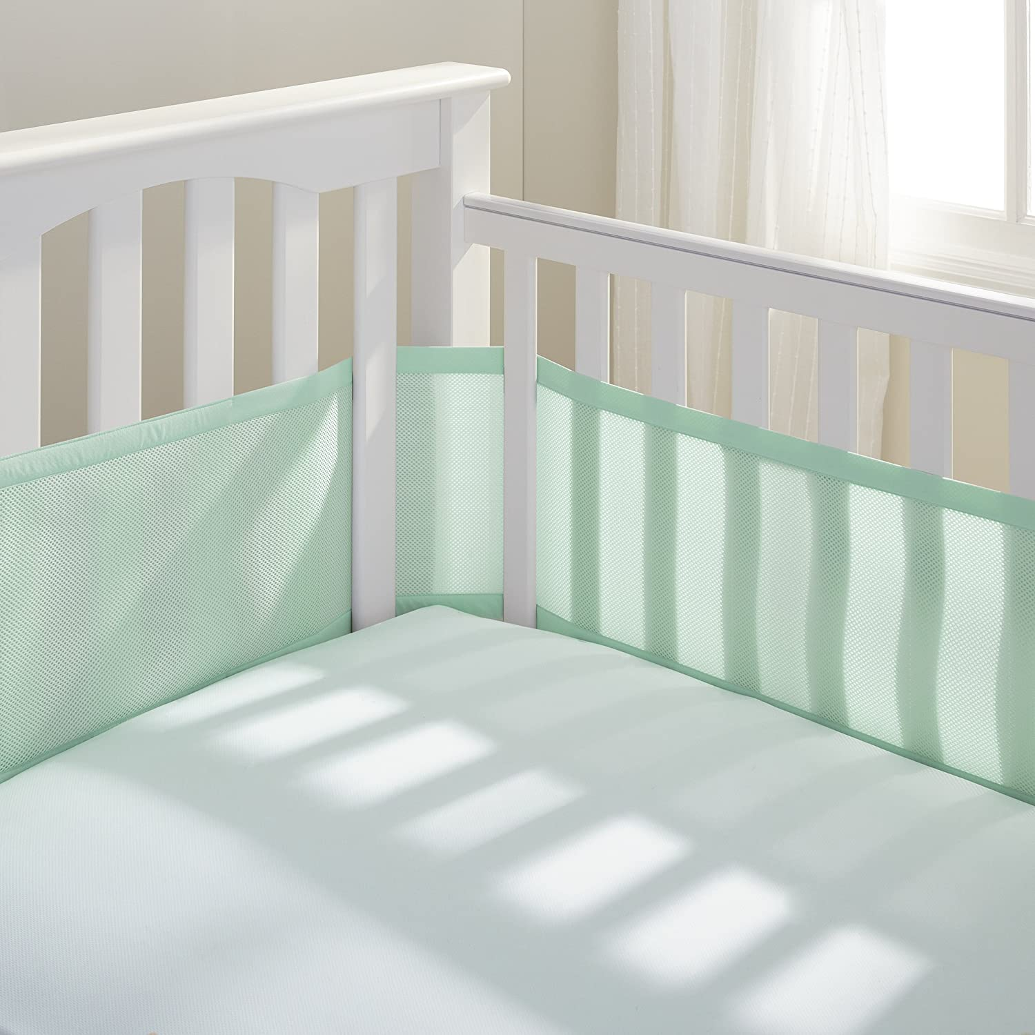 BreathableBaby Breathable Mesh Crib Liner, White (Mint Green) 10234