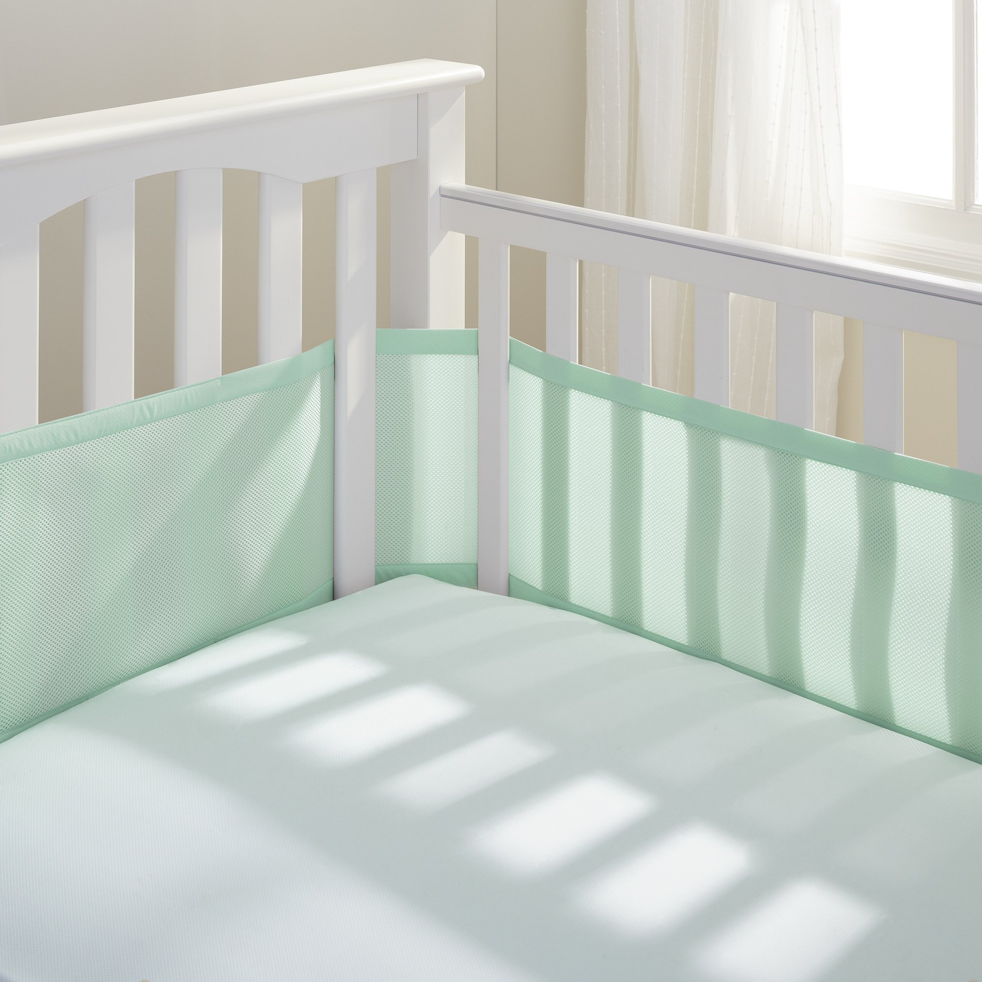 BreathableBaby Breathable Mesh Crib Liner, White (Mint Green)