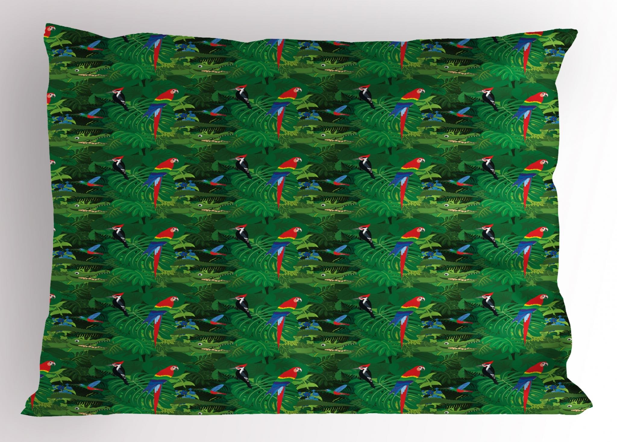 Lunarable Alligator Pillow Sham, Realistic Illustration of Tropical Fauna with Parrot Woodpecker and Palm Leaves, Decorative Standard Size Printed Pillowcase, 26 X 20 inches, Multicolor