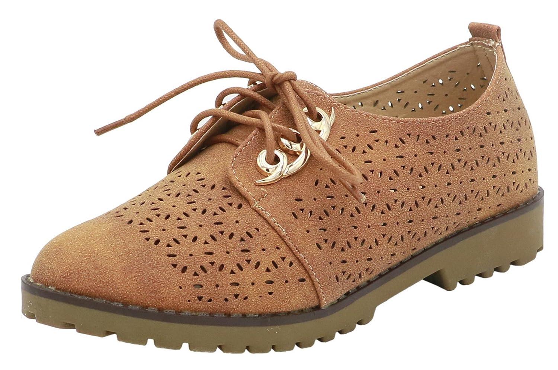 AgeeMi Shoes Damen Rund Schlieszlig;en Zehe Schnuuml;ren Low Top Flach Schuhe40 EU|Kamel Farbe