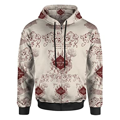 5dcaf17c5 Amazon.com: Marauder Map Men Zip Up Hoodie: Clothing