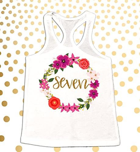 Girls 7th Birthday Shirt Gold Baby Girl Sparkle Tank