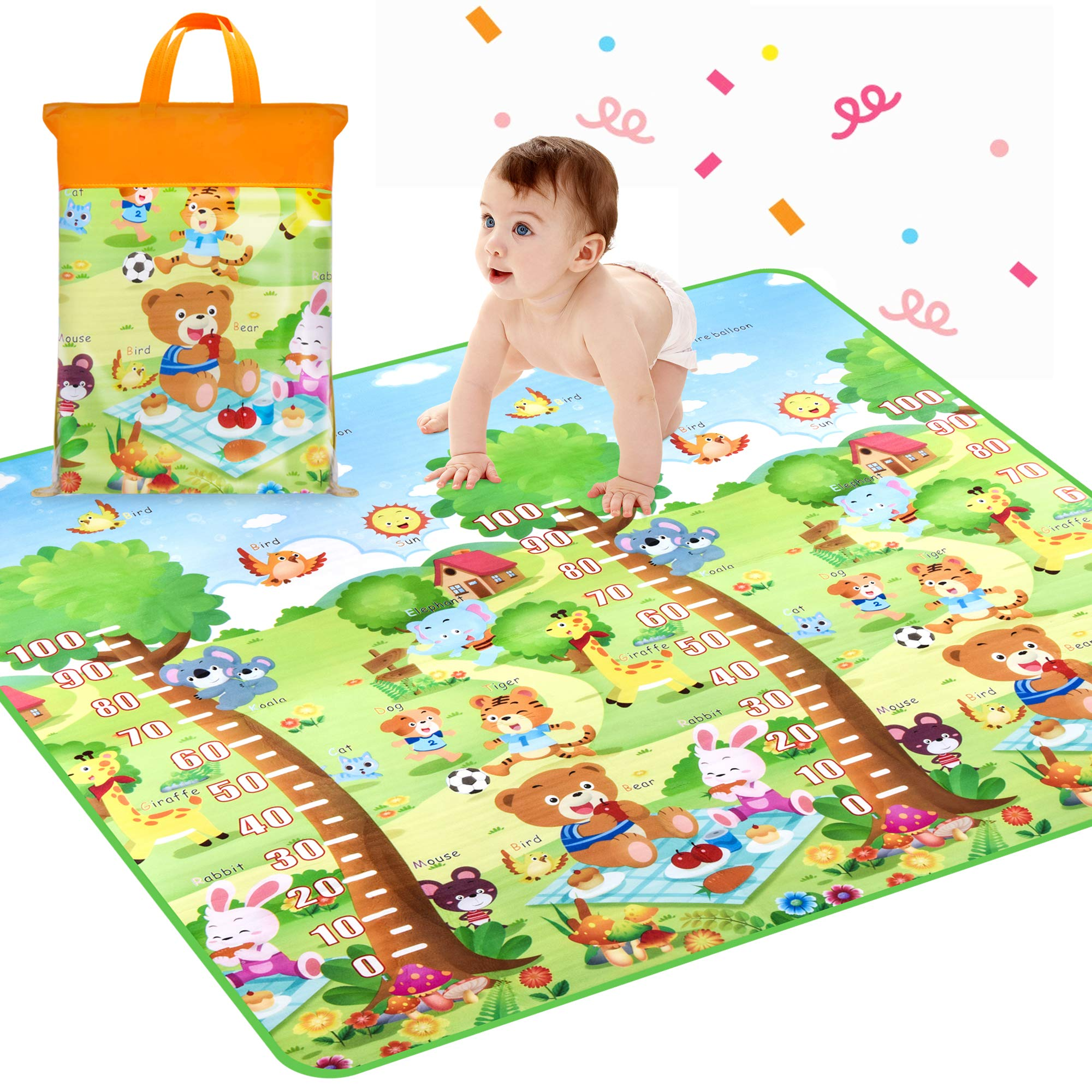 Baby Crawling Mat, Waterproof Non-Toxic Non-Slip Baby Floor Mat Educational Learning Area Rug for Kids and Children, Kids Activity Mat Reversible Thick Large 78.7'' x 71'' Playmat (Animals)