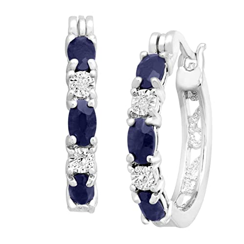 2 1/10 ct Natural Sapphire Hoop Earrings with Diamonds in Platinum over Brass, .875""